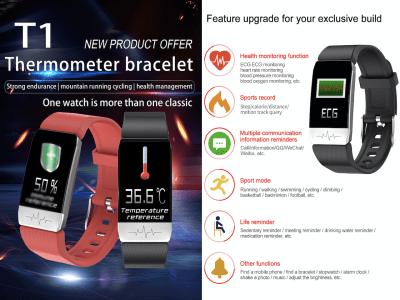 Pulsera Inteligente con medición de Temperatura Corporal para Hombres y Mujeres, Monitor de Frecuencia Cardíaca, Resistente al Agua IP67, Compatible Android y IOS, Control Sueño, WhatsApp. MP3, Email