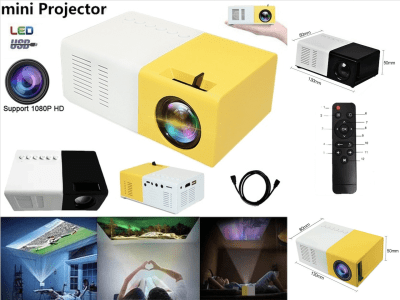 Mini proyector LED portátil, Reproductor 1080P videos, TV, película, Juegos, Entretenimiento Aire Libre, HDMI, USB, AV, Control Remoto, 1200 Lumen, Distancia Ideal 1-2,8m