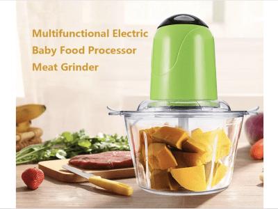 Procesador de alimentos eléctrico, mini picador de alimentos de 200 W para verduras, frutas, ensaladas, cebollas, ajo, carne, cubitos de hielo, etc. con 4 cuchillas desmontables y 2 cuencos de vidrio