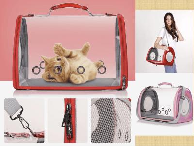 Jaula de viaje al aire libre para gatos, cachorros pequeños, conejos, etc., mochila de cápsula transparente ventilada para viajes, senderismo y uso al aire libre