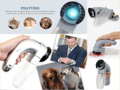 Succionador de pelo eléctrico para mascotas con goma suave, masaje portátil, aseo de gatos y perros, aspiradora de pelo