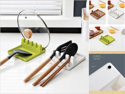 Soporte de utensilios de cocina para encimera, espátula / cucharón / soporte de cuchara con almohadilla anti-goteo y soporte para tapa de olla, soporte para cocina, multifunción con soporte para tapa