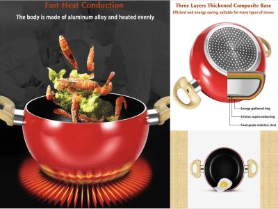 Salsera de cocina de 20 cm en forma de tomate / olla de sopa, bandeja de frutas, sartén de aluminio antiadherente, sin humo