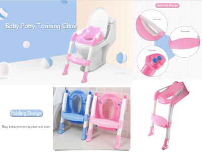 Asiento de entrenamiento de orinal para niños con escalera de taburete, asiento para orinal cómodo y seguro con escalera antideslizante