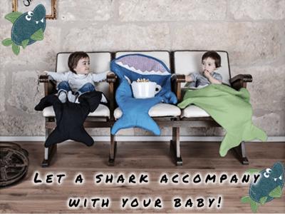 Bonito y cómodo saco de dormir de tiburón de dibujos animados, sacos recién nacidos anti-retroceso, manta