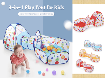 Tienda de campaña para niños 3 en 1, plegable de 3 piezas con túnel, túnel de rastreo para niños, niñas, bebés y niños pequeños, casa de juegos con piscina de bolas