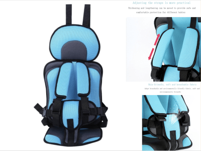 Cojín de asiento de seguridad para niños cómodo, transpirable, engrosado y ajustable