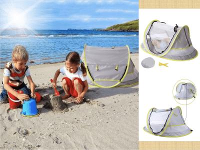 Tienda de playa para bebés, cama de viaje portátil con mosquitera, protección solar UPF 50 + para bebés, tienda de campaña plegable para exteriores para bebés