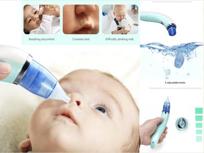 Aspirador nasal, succionador de mocos, eléctrico, seguro, recargable por USB, limpiador de succión de nariz para bebé, succión de moco, succionador automático de mocos para bebés y niños pequeños