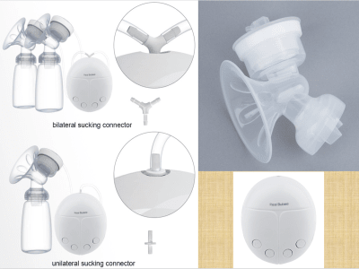 Extractor de leche eléctrico con botella de leche, gran potencia de succión, extractor de leche doble portátil, silicona de grado alimenticio para amamantar, sin BPA, recargable