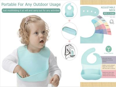 Baberos de silicona para bebés con recogedor de alimentos para niñas y niños, impermeables, sin PBA, fáciles de limpiar, baberos de viaje para bebés y niños pequeños (6-72 meses)