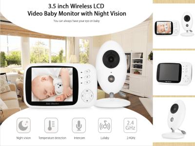 Vigilabebés con video con cámara y audio, visión nocturna automática, conversación bidireccional, monitor de temperatura, modo VOX, canciones de cuna, batería de larga duración