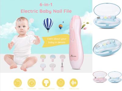 Lima de uñas para bebés, recortadora eléctrica de uñas, set de manicura, dedos de los pies, recortadora para el cuidado de las uñas con luz LED para recién nacidos, niños y adultos