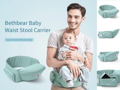 Asiento Portabebés de cadera con 3 posiciones de transporte, bolsa de almacenamiento incorporada, cinturón ajustable con soporte lumbar, asiento de cadera para recién nacidos y niños pequeños