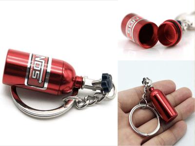 Nuevo y creativo NOS Mini llavero de botella de óxido nitroso, anillo de llavero, caja de pastillas, llavero de almacenamiento Turbo