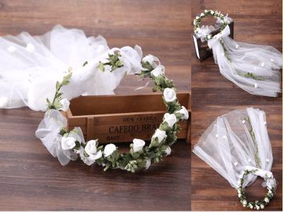 Diadema de corona de flores, Aro de pelo nupcial de boda floral, Tocado de decoración de cinta de hojas, Accesorios para el cabello, Accesorios para la cabeza
