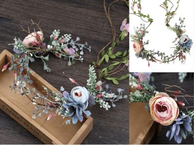Diadema de guirnalda de flores de novia ajustable, corona de flores, halo de corona de pelo, aro de pelo de novia de boda floral, accesorios para el cabello