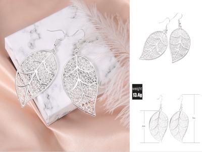 Pendientes de estilo bohemio para mujer, pendientes largos colgantes, forma de hoja de arból, estilo de moda, ligeros