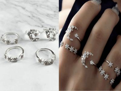 Juego de 5 anillos de nudillos de cristal de plata vintage, anillos apilables, anillos de junta con forma de estrella de luna vintage