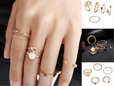 Juego de 5 anillos apilables de nudillos vintage para mujer, chapado en oro bohemio, ajuste cómodo, anillos para los dedos articulados, accesorios de moda para las manos