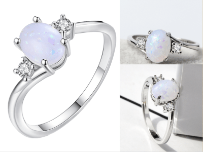 Anillo exquisito de aleación color plata para mujer , joyas de diamantes de ópalo de fuego de talla ovalada