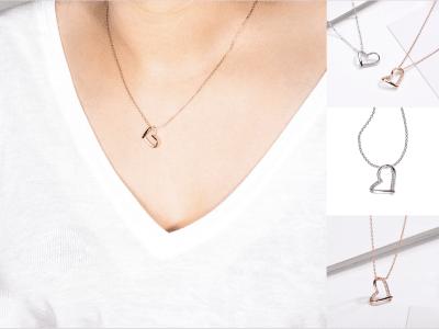 s925 collar de corazón de hilo de plata, cadena de clavícula simple, romántico collar de corazón trenzado de plata