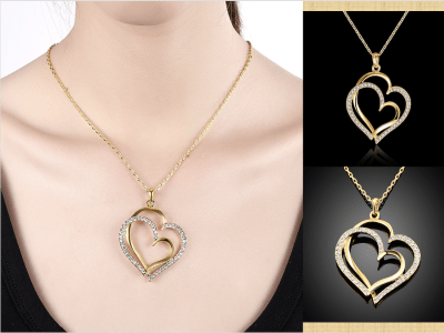 Collar con colgante de corazón de amor para mujer, collar de doble corazón chapado en oro de 18 quilates