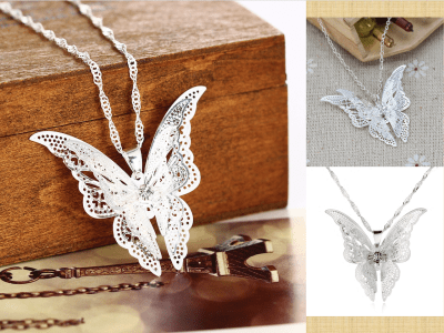 Joyería preciosa plateada, collar colgante de  mariposa, collar de cadena pendiente, de moda