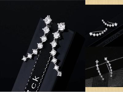 Pendientes de diamantes de lujo minimalistas de moda, Pendiente de viento romántico de diamantes de circón, Pendientes de lujo
