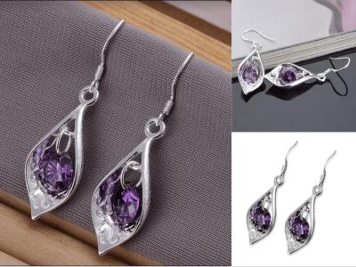 Pendientes de gota y concha de cristal, Pendientes de diamantes de lujo minimalistas de moda, Pendiente de viento romántico de diamantes de circón, Pendientes de lujo