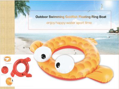 Anillo de pez dorado para nadar, Anillo inflable de piscina para bebés, Juguete de anillo flotante para piscina, Juguete de agua para la playa