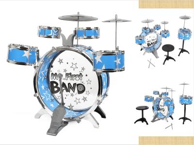 Juego de batería de jazz para niños principiantes, batería de 3 piezas con baquetas de platillos, taburete ajustable, batidor individual, percusión, juego de juguete para instrumentos musicales