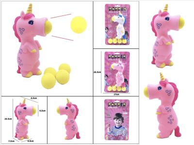 Unicornio Juguete de bolas, Dispara bolas de espuma de forma segura, 5 bolas incluidas, 4 años o más