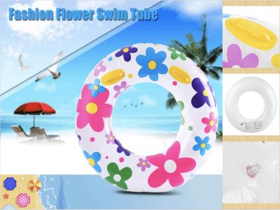 Anillo de natación con estampado de flores inflable, flotador de piscina inflable, playa, piscina, decoraciones para fiestas, anillo de natación flotante, anillo de natación inflable con asa