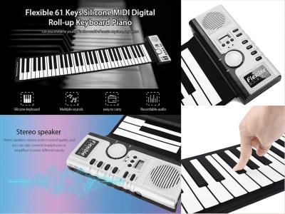 Teclado de piano electrónico enrollable, silicona suave 61 teclas engrosadas, digital eléctrico flexible plegable con grabación, programación, funciones de reproducción, salida USB MIDI, pantalla LCD