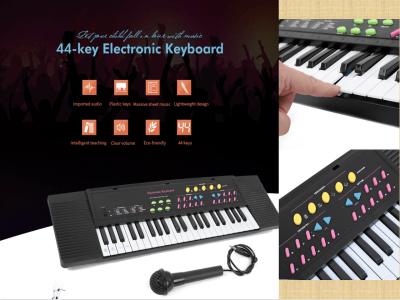Teclado electrónico medio de 44 teclas para niños, con micrófono, teclado de piano electrónico para niños, instrumento de música portátil multifunción
