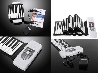 Piano enrollable, Teclado de piano eléctrico de 88 teclas, Teclado de piano portátil mejorado con micrófono Bluetooth, Altavoz integrado, Batería recargable, Piano portátil