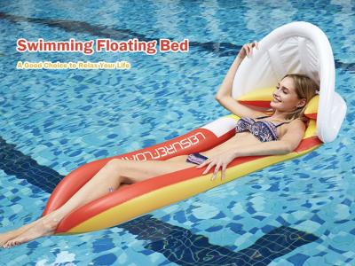 Cama flotante de natación, colchón de aire de piscina inflable de PVC, hamaca con sombrilla, sillón de cama flotante inflable plegable con sombrilla para piscina, flotadores de piscina