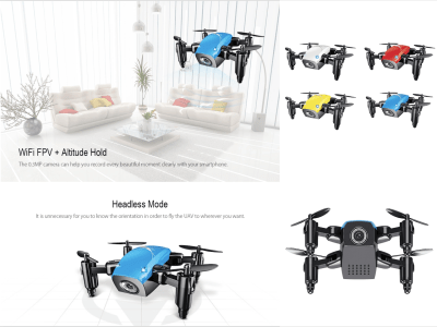 Dron Rotación plegable RC Quadcopter-RTF 3D, retención de altitud, avance / retroceso, retorno automático, vuelo lateral, desaceleración, giro a la izquierda / derecha, arriba / abajo, conexión WiFi