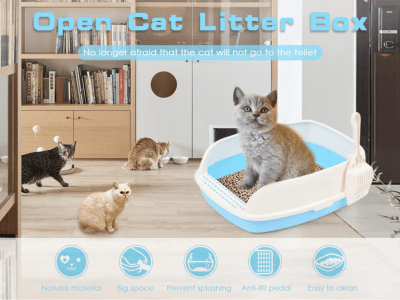 Caja de Arena para Gatos Abierta. Gran Espacio Anti-Salpicaduras. Material Natural, Gran Espacio, Evita Salpicaduras, Pedal Anti-Elevación, Fácil de Limpiar