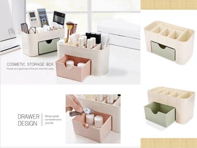 Joyero de plástico, organización compacta para cosméticos, cuidado del cabello, baño, oficina, escritorio, caja de almacenamiento de escritorio de plástico con tapa abierta, Contenedor con cajón
