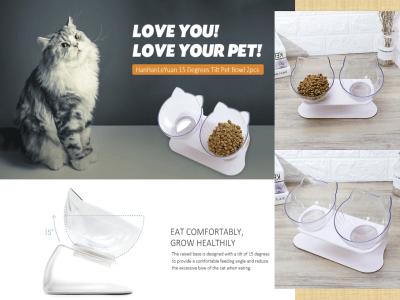 Cuenco Mascotas con Inclinación de 15º, 2 Uds. Para Proporcionar Ángulo de Alimentación Cómodo con Diseño Dos Tazones, Coloque la Comida y el Agua. Desmontable, Fácil de Lavar. Durable y seguro