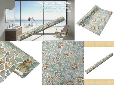 Película de ventana adhesiva, decoración de papel tapiz, patrón de flores retro, película de privacidad de ventana, etiqueta de ventana de vidrio, etiqueta estática, tamaño: 45 x 200 cm