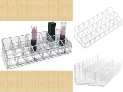 Soporte transparente para pintalabios de 24 compartimentos, organizador para maquillaje, aceites esenciales, estante de 3 x 8 filas, estuche de acrílico transparente