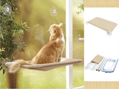 Perchas de ventana creativas y sencillas para gatos. Diseño bastante sencillo. El asiento está cubierto con una funda de tela resistente. Absolutamente un favorito para tu gato