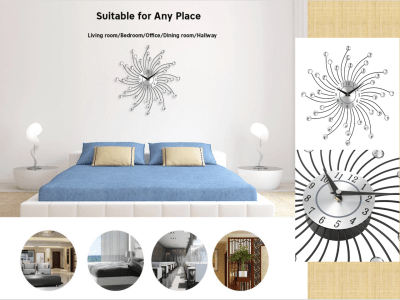 Reloj de pared de cristal, reloj grande de diamantes con cuentas de cristal, reloj de pared de arte metálico silencioso, pared Vintage, decoración de sala de estar, Imagen de lujo
