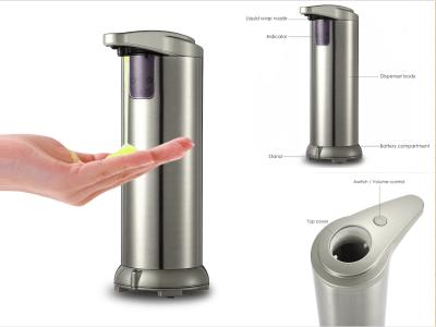 Dispensador de jabón automático de 280 ml, movimiento con sensor, acero inoxidable, sin contacto, sensor de movimiento por infrarrojos, base impermeable, apto para baño, cocina, hotel, restaurante
