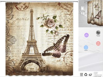 Cortina de ducha de la Torre Eiffel de París, elegante cortina de baño, color marrón pálido, estilo vintage con flores y mariposas románticas de París, lavable a prueba de agua, decoración del hogar