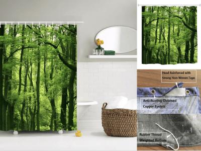 Cortina de ducha de bosque, impermeable, duradera, bosque de árboles, verdes, frondosos. Cortina de baño de paisaje de luz natural, impresión de arte de paisaje natural, decoración de baño
