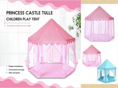 Castillo de princesa grande, casa de tul para niños, tienda de juegos, desarrollo creativo de yurtas, exterior, interior, castillo hexagonal, casa de juegos para niños de tul de gran tamaño